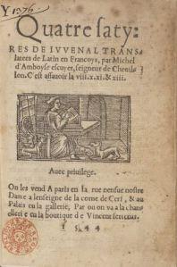 Michel d'Amboise, Quatre Satyres de Juvenal, Paris, V. Sertenas, 1544. Page de titre. Source : Gallica.