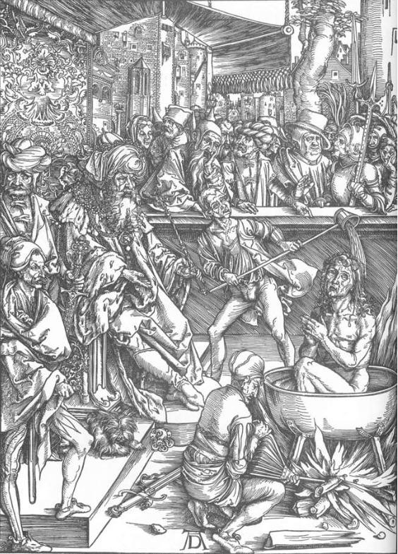 """Albrecht Dürer, """"La révélation de Saint-Jean, 1. Le martyre de Saint-Jean l'évangéliste"""",1497-98, Staatliche Kunsthalle, Karlsruhe (source : WGA)."""
